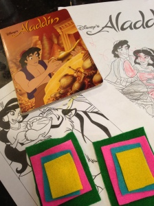 Coloring pages, an Aladdin book and making magic carpets.