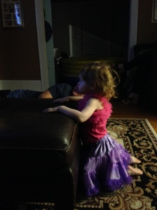 Mad Madam Mim watching with Papaw.