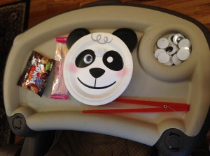 Jacs activity and goodies. Making google eye pandas and trying strawberry pocky and panda chocolate cookies.