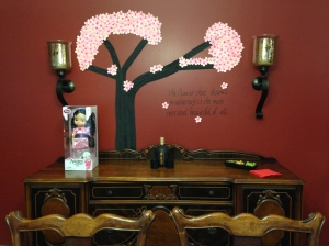 Sideboard for Mulan. I kept the actual sideboard simple so the tree was highlighted.