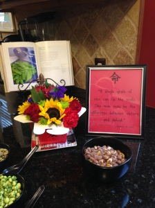 I had extra flowers and a box so I made an arrangement for the island. I also turned my cookbook to an Asian recipe.