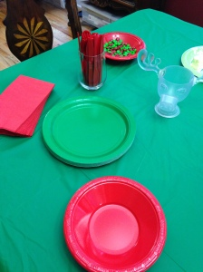 Red and green table.