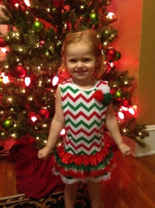 Jacs wore one of her dresses from last Christmas. Thank goodness it's cool without tights.