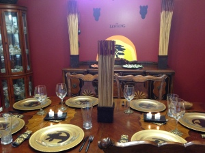 View of the tablescape with the sideboard. Sorry for the bad photography and blow out.