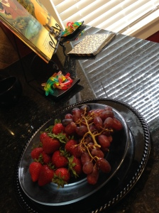 Had some fresh fruit on hand to off-set the gummy worms.