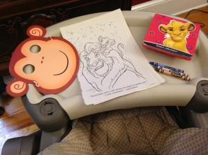 Jacs' activities. A monkey mask, coloring pages and a Simba book from Dollar Tree.