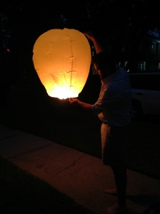 Jeff launching the lantern.